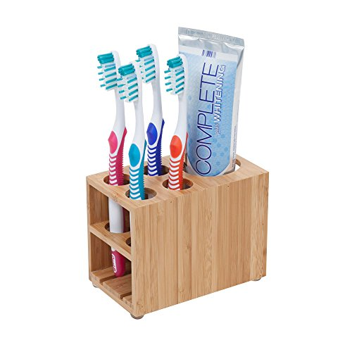 MobileVision Toothbrush and Toothpaste Holder Stand for Bathroom Vanity Storage, Bamboo, 5 Slots by MobileVision (Image #1)
