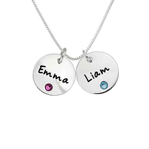 (AJ's Collection Personalized Sterling Silver Double Round Name Charm Necklace with Choice of Swarovski Birthstone Settings)