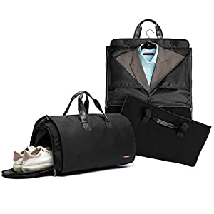 Folding Garment Bag Suitcase for Man, 45L High Capacity Carry-on Garment Bag (Black)