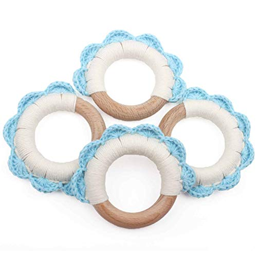 """Baby Teething Ring to Soothe, Pack of 4, 3"""" Relieve and Improve Infant Tooth Development 100% Pure Food Grade,Blue -  HI BABY MOMENT, G-CYRR004"""