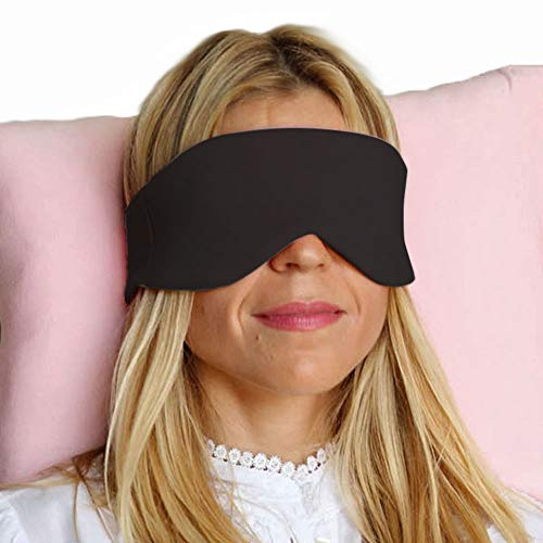 HappyLuxe Escape Sleeping Mask, Soft Luxurious Fabric, Improves Sleep, Reduces Flight Fatigue, Great for Travel. Sustainably made in the USA. (Jet Black) by HappyLuxe