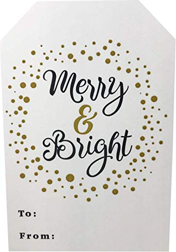 Christmas Gift Tags Holiday Present Stickers Merry & Bright 4 Different Designs 2 x 3 Inch 100 Total Labels Photo #5