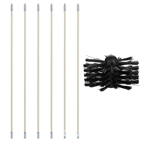 Dnasrivew 23.62 Inch Nylon Bendable Chimney Pipe Cleaner Brush Boiler Dryer Sweep Cleaning Tools to Clean The Tubular Inner Wall of The Chimney, Oil-Smoke Machine, Dryer, Boiler, Black