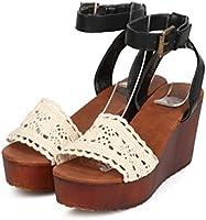 3c2a5ba5508 Women Mix Media Peep Toe Crochet Wooden Wedge Sandal EB13 - Black ...