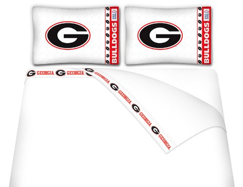 Sports Coverage NCAA Georgia Bulldogs Micro Fiber Sheet Set (Twin) - Sheets Twin Sports Coverage
