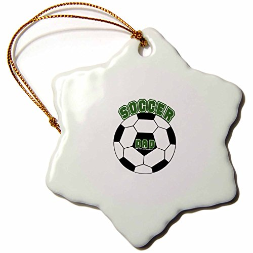 3dRose orn_16678_1 Soccer Dad-Snowflake Ornament, Porcelain, 3-Inch by 3dRose