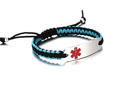 JF.JEWELRY Two-Tone Nylon Rope Handmade Medical ID Alert Bracelet Stainless Steel Tag Custom Engraved-Red by JF.JEWELRY (Image #1)