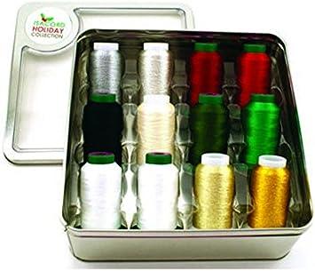 Isacord Holiday Tin 12 Spools Isacord /& Yenmet Thread