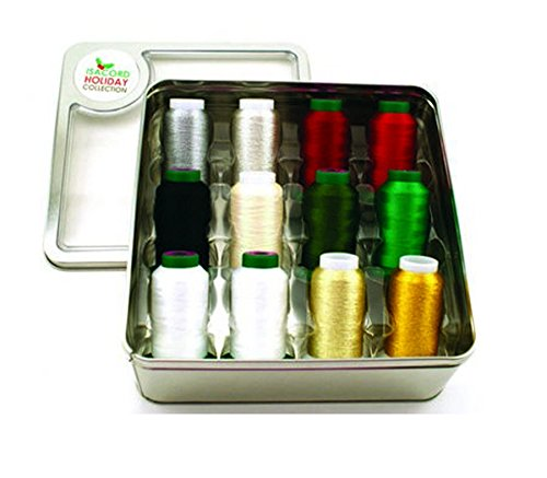 Isacord Holiday Tin, 12 Spools Isacord & Yenmet Thread