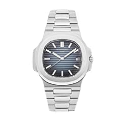 Patek Philippe Nautilus (57111A010) self-winding automatic watch features a 40mm stainless steel case surrounding a black and blue dial on a stainless steel bracelet with folding buckle. Functions include hours minutes seconds and date.This ...