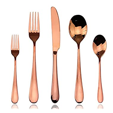 Cutlery Set, Rose Gold Flatware Set Aoo 5 piece Stainless Steel Dinnerware