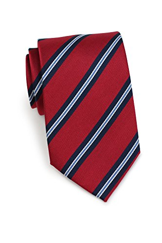 Navy Regimental - Bows-N-Ties Men's Necktie British Regimental Striped Silk Matte Tie 3.25 Inches (Apple Red and Navy)
