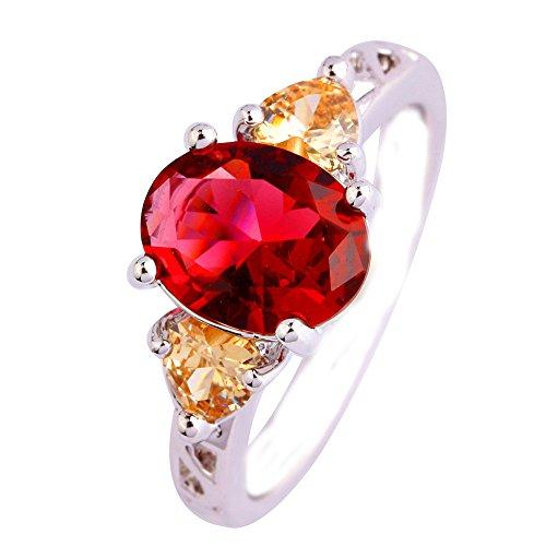 Empsoul 925 Sterling Silver Natural Chic Filled Oval & Heart Cut Ruby Spinel & Morganite Gemstone Engagement Wedding - Gemstones Spinel Cut