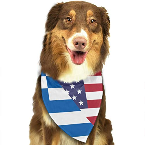CWWJQ88 Greece Greek USA Friendship Flag Pet Dog Bandana Triangle Bibs Scarf - Easy to Tie On Your Dogs & Cats Pets Animals - Comfortable and Stylish Pet Accessories