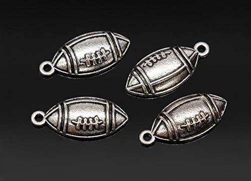 8 Football Charms Antique Silver Tone 10x23mm - YD0890
