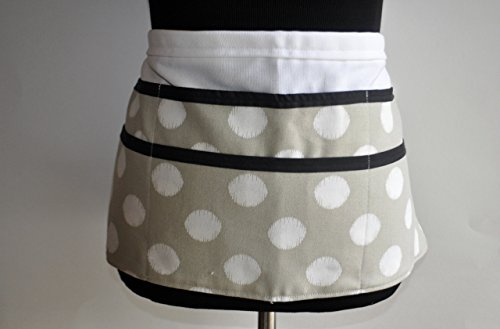 Teacher apron in tan with white polka dots - White Bias Apron