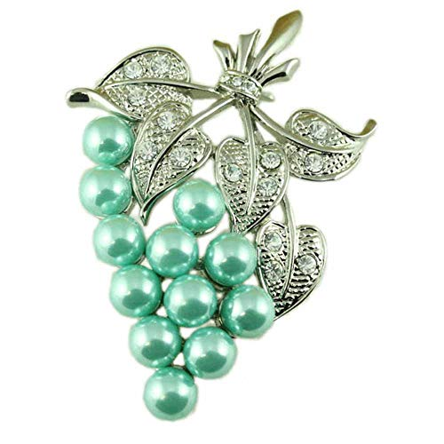 Lilylin Designs Large Light Green Imittaion Pearl Grapes with Crystal Leaves Brooch Pin