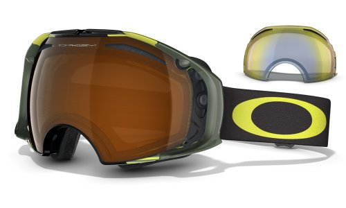 Oakley Airbrake Shaun White Signature Series Snow Goggle, Neon Yellow Block Stripes with Black and HI Yellow Lens
