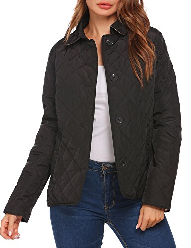 Zeagoo Women's Classic Lightweight Quilted Lined Jacket Barn Jacket With Pocket Black M
