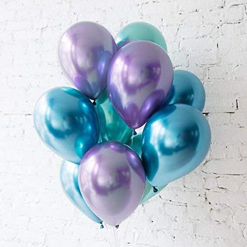 BALONAR 3.2g 90pcs Metallic Chrome Balloon in Blue Green and Purple for Wedding Birthday Party Decoration (Blue Green Purple)
