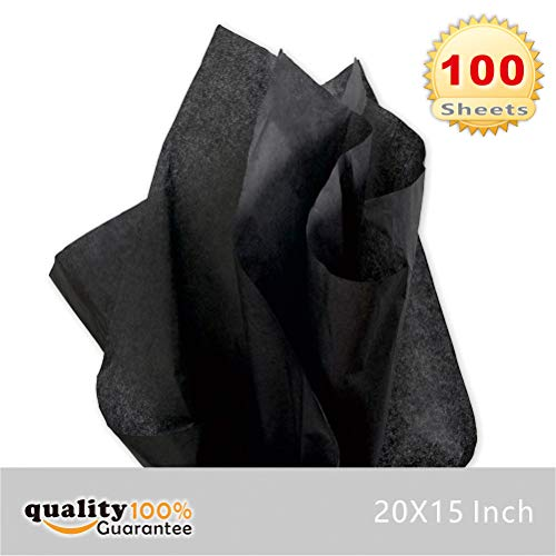 PMLAND Premium Quality Gift Wrap Tissue Paper - Black - 15 Inches X 20 Inches 100 Sheets (Paper Black 100)