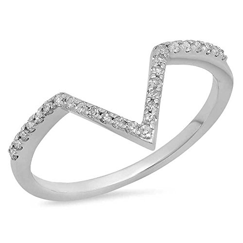Dazzlingrock Collection 0.15 Carat (ctw) 14K Round White Diamond Wedding Stackable Band Chevron Ring, White Gold, Size 6