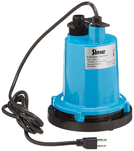 Simer 2300-04 1/4 HP Submersible Utility Pump, Geyser Classic, Heavy-duty Cast Aluminum, Includes Garden Hose Adapter, 1-1/4