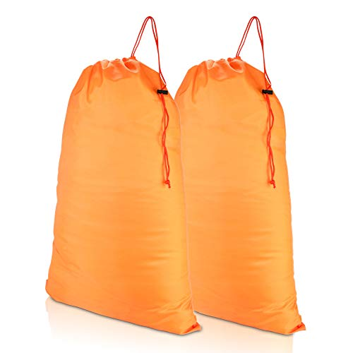 DALIX Large Travel Laundry Bag for Camp College Drawstring Bags 2 Pack Orange
