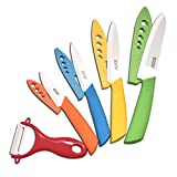 Larcolais Ceramic Knife Set 3 4 5 6 inch Kitchen Knives with Knife Covers and Peeler for Chef Paring Fruit Vegetable Utility Cooking