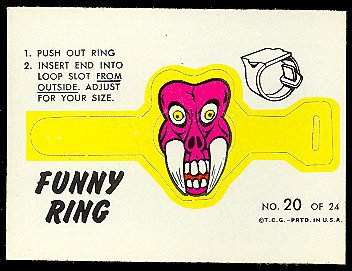 1966 Topps Funny Ring (Football) Card# 20 mr fang ExMt Condition