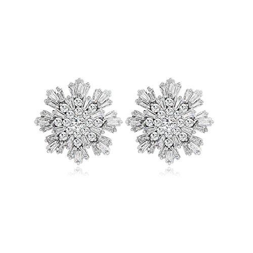 Beydodo Gold Plated Earrings Stud for Womens White Snow-Flake Cubic Ziconia Earrings Wedding Earrings