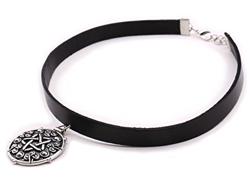 Witcher 3 Silver Medallion Pendant Necklace Choker- Game Witcher 3 Yennefer Medallion Black Leather Choker Necklace with Pendant for Women -