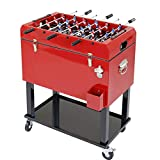 outdoor bar cart Clevr 68 Quart Qt Red Patio Cooler Ice Chest with Foosball Table Top, Portable Patio Party Bar Cold Drink Rolling Cart on Wheels with Tray Shelf,17 Gallon/ 65L Outdoor Rolling Beverage Cart