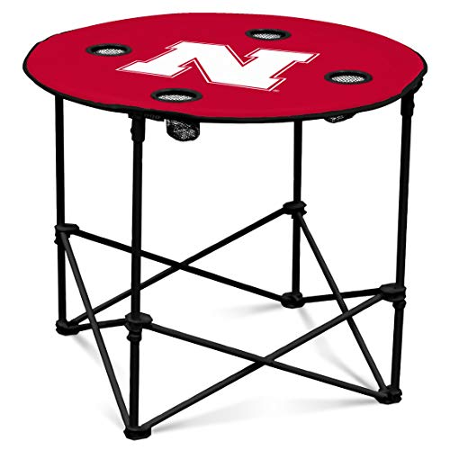 Nebraska Cornhuskers Collapsible Round Table with 4 Cup Holders and Carry Bag