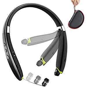 Bluetooth Headphones, BEARTWO Upgraded Foldable Wireless Neckband Headset with Retractable Earbuds, Noise Cancelling…