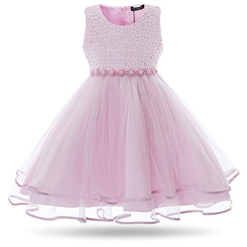 (CIELARKO Girls Dress Children Beading Birthday Party Wedding Dresses for 2-11 Years (4-5 Years, Pink))