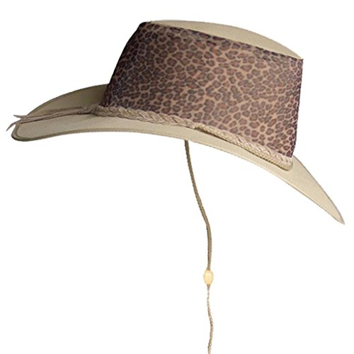 Summer Canvas Hat with Ventilating Mesh, Leopard KTA -