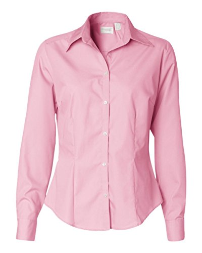 Van Heusen womens Long-Sleeve Silky Poplin(13V0114)-PINK-M - Van Heusen Pink Dress Shirts
