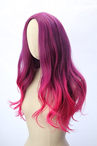 Long Wavy Gamora Cosplay Wig Purple Mixed Red Pink Gradient Ombre