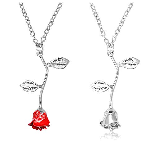 choice of all 3D Rose Flower Pendant Necklace,Charm Gold Silver Personalized Red Rose Statement Necklace for Women Girls (I:Silver Set)