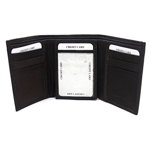 Rosemarie Collections Men's Tri Fold Dark Brown Leather Wallet Father's Day - Gift Card Macy's Deals