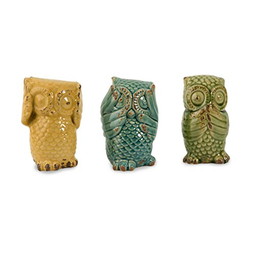 Cheap Imax 69230-3 Wise Owls – Set of 3 Ceramic Statuaries, Handcrafted Decor Accessories, Vintage-Inspired Showpieces. Home Decor