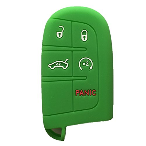 - Green Key Case Cover Jacket Silicone Rubber Fob Keyless Remote Holder Skin fit for JEEP FIAT DODGE CHRYSLER Smart Remote Key Case