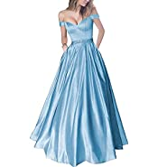 Lemai Off Shoulder Beaded Satin V Neck Corset Long Prom Dresses Evening Gowns