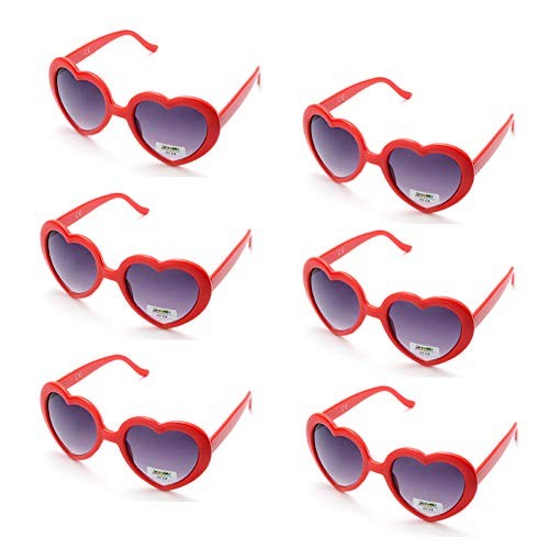 6 Neon Colors Heart Shape Party Favors Sunglasses, Multi Packs (6-Pack Red) ()