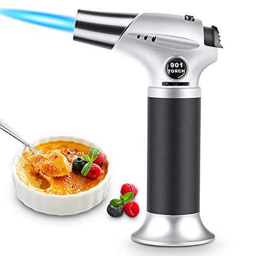 RenFox Blow Torch Cooking Kitchen Culinary Torch Butane Torch Lighter, with Safety Lock & Adjustable Flame, Refillable Butane Torch for Creme Brulee, BBQ Baking DIY (Gas Not Included)