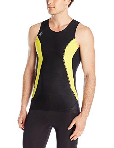 SKINS Men's DNAmic Men's Compression Sleeveless Top, Black/Citron, - Compression Skins Usa