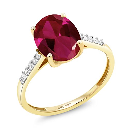 (Gem Stone King 10K Yellow Gold Red Created Ruby and White Diamond Women's Ring (2.62 Ct Oval Available in size 5, 6, 7, 8, 9) )