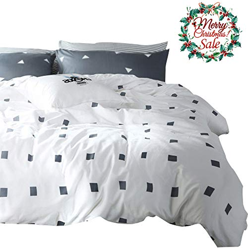 VM VOUGEMARKET White Duvet Cover Sets Queen,Gray Square Printed Duvet Cover with 2 Pillow Shams - Hotel Quality 100% Cotton - Luxurious,Comfortable and Breathable (Queen, Style 2)