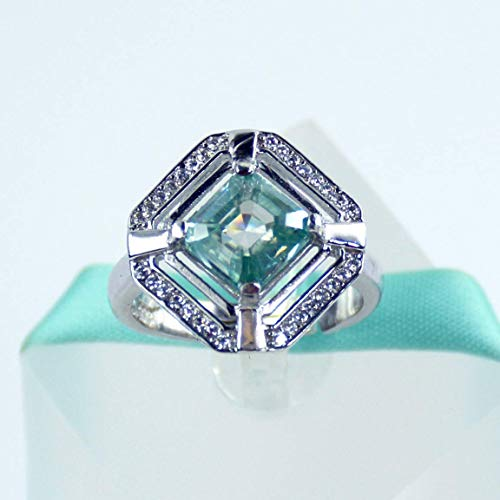 SALE 2Carat Blue Moissanite Diamond Asscher Cut Ring 925 Sterling Silver Ring, Platinum Plated, Size Adjustable